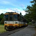 写真: のと鉄道 蛸島駅にて
