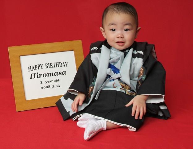 ヒロくん一歳の記念写真(和風)