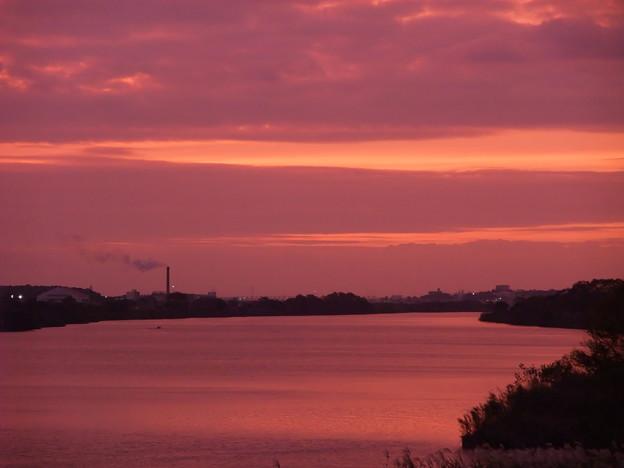 写真: 利根川 夕景
