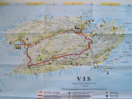 ヴィス島地図(詳細)