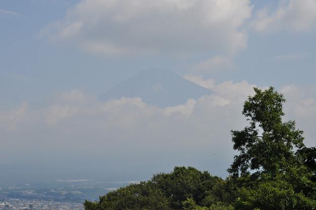 夏の雲に覆われる富士山