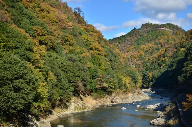深い山間に挟まれた川
