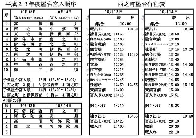 写真: 平成23年度西之町 屋台運行表