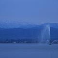 柴山潟 雪の白山と噴水(1)