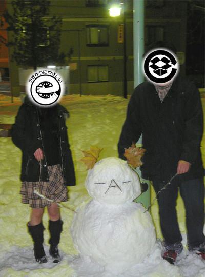 雪だるまと記念撮影B